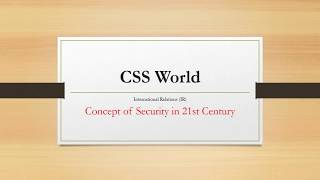 Concept of Security in 21st century