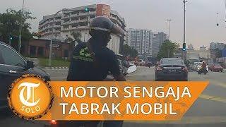 Viral Video Pengendara Motor Menabrakkan Diri ke Mobil untuk Cari Uang