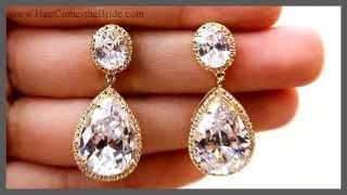 Gold Drop Bridal Earrings ~ Bridal Hair Accessories And Jewelry By Hair Comes The Bride