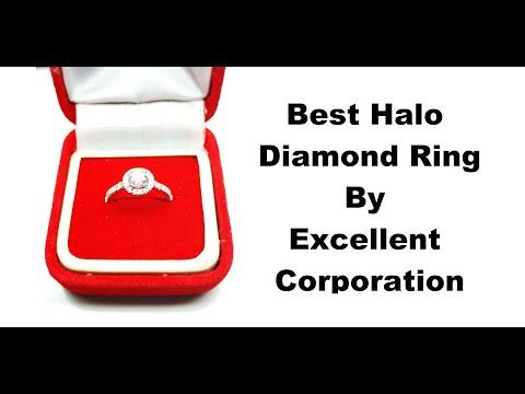 Halo Diamond Ring 0.75ct Lab Grown Stone DEF VVS VS 18k Yellow Gold