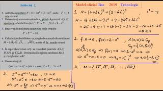 Model Oficial De Bacalaureat, Matematica 2019 (tehnologic)