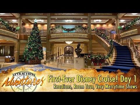 First-Ever Cruise! Day 1: Reactions, Room Tour, Very Merrytime Disney shows - Attractions Adventures