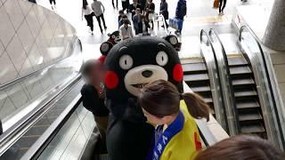 ~ おまけ ~ くまモン エスカレーターに乗る PART3@熊本・阿蘇においでよプロジェクトin小倉駅20180519