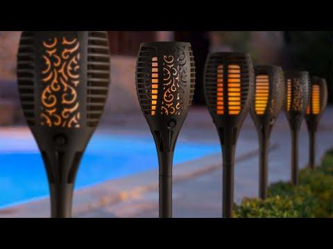 Lampa Solara LED tip Torta cu Imitatie Flacara Miscatoare
