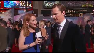 Бенедикт Камбербэтч, Benedict Cumberbatch and Robert Downey Jr in Marvel's Dr Strange Red Carpet