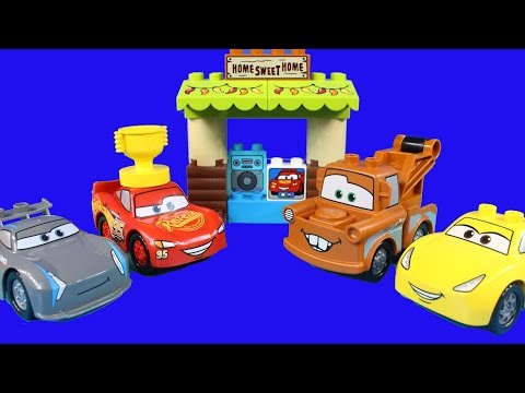 Disney Cars 3 Lego Duplo Mater's Shed Lightning McQueen Races Jackson Storm For Piston Cup