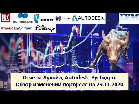 Отчеты Лукойл, РусГидро, Autodesk. Увольнения в Walt Disney и IBM. Обзор изменений портфеля акций