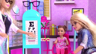 Barbie Doll goes to Barbie EYE Doctor with Annabelle doll toy