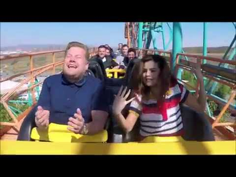 Selena Gomez Funny Roller Coaster Moment With James Corden (видео)