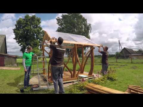 "TimberTeam Holz-Pavillon aufbauen – Gartenlaube Linie ""Rustikal"". Pavillon Bausatz 3x3 und 4x4."