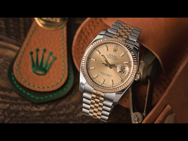 Used Rolex Datejust 16203 Smooth Bezel Two Tone Oyster Rolex Box Circa 2002