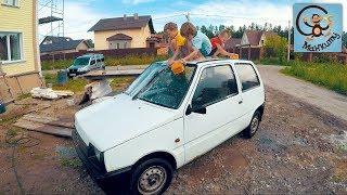 Дети и машина.  Готовим к покраске машину из мультика Маша и Медведь.  МашаМобиль #3