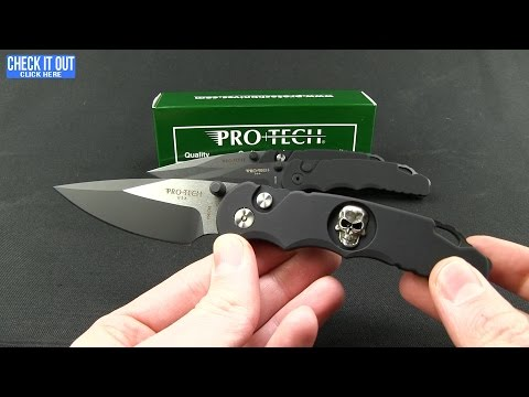 "Protech Lerch TR-5 Skull Custom Spring Assisted Knife Black (3.25"" Black Serr)"