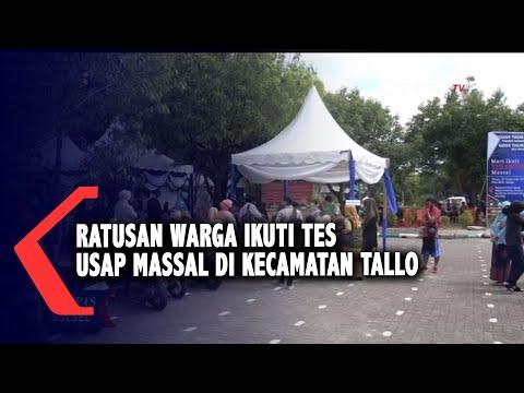 ratusan warga ikuti tes usap massal di kecamatan tallo