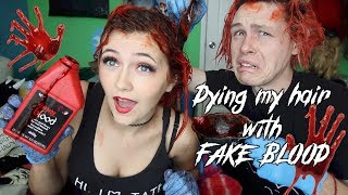 Dying my hair with Fake Blood *Halloween Hair Hacks*