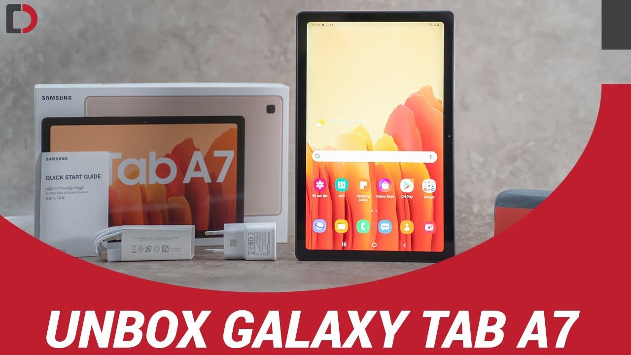 Mở hộp máy tính bảng GALAXY TAB A7 chính hãng, giá tầm trung