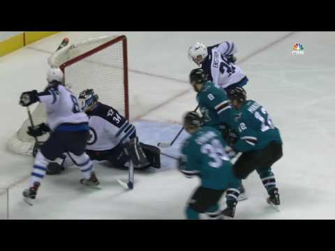 Hutchinson kicks puck into his own net after lucky bounce