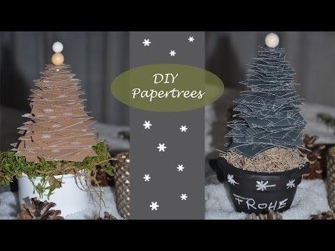 Kleine Tannenbäume aus Papier - Winterdeko leicht gemacht