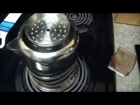 Making Coffee With a Farberware Stainless Steel Yosemite Coffee Percolator