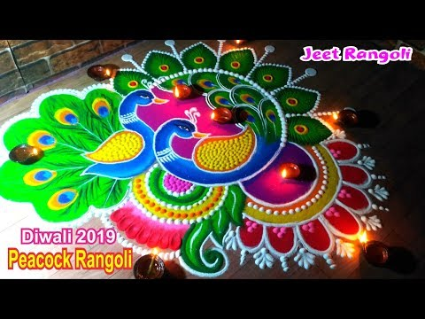 peacock rangoli design by jeet rangoli