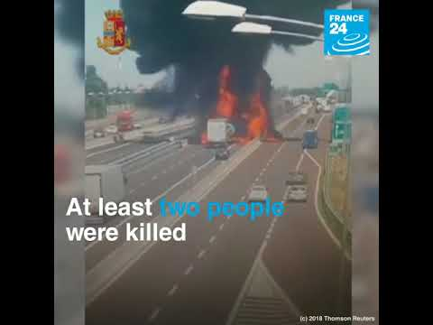 Two trucks collide on a motorway near Bologna, resulting in two huge explosions