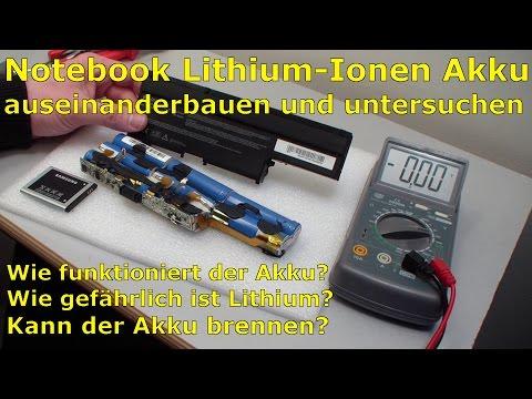 Notebook Lithium-Ionen Akku auseinanderbauen und untersuchen