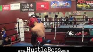 Heated sparring between Saul Rodriguez and Juan Funez as Brandon Rios and others watch on