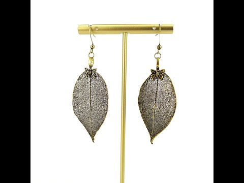 Real Leaf Dangle Earrings