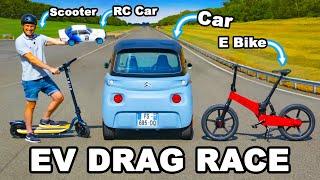 Citroen Ami v E Bike, RC Car & Scooter: DRAG RACE