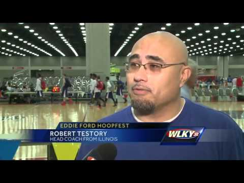 College basketball coaches looking for recruits at Eddie Ford Hoopfest
