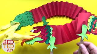 Dragon Paper Puppet DIY - Paper DIY For Chinese New Year - Paper Dragon Craft