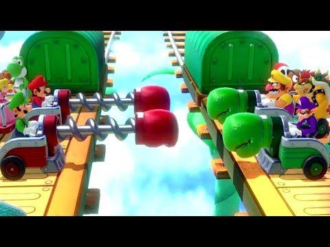 Super Mario Party - All Survival Minigames - Mario vs Luigi vs Wario vs Waluigi