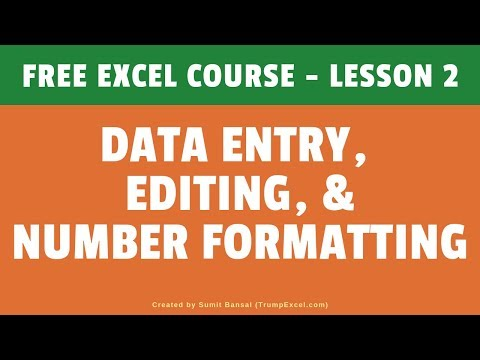 [FREE Excel Course] Lesson 2 - Data Entry, Editing, and Number ...