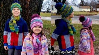 How To Crochet a childs Beanie & Keyhole Scarf | Hopscotch & Jellybeans | Crochet Tutorial #554