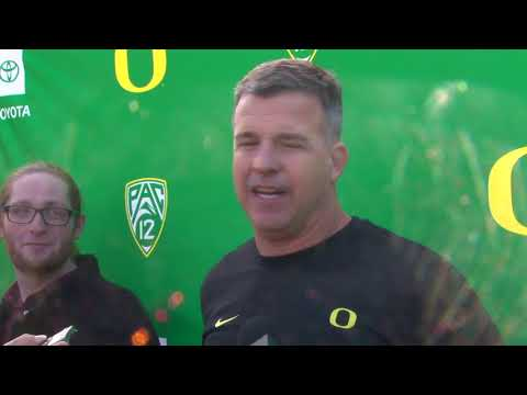 """Mario Cristobal: """"I'm impressed with the way our guys are attacking these practices."""""""