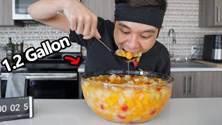 1.2 Gallon FRUIT COCKTAIL Eaten in ~5 Minutes!! thumbnail