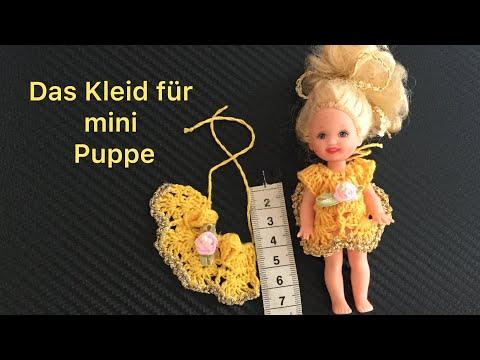 Häkeln.Das Kleid für mini Puppe.Barbie.Вяжем платье для мини куклы.Баби Борн.Барбие.