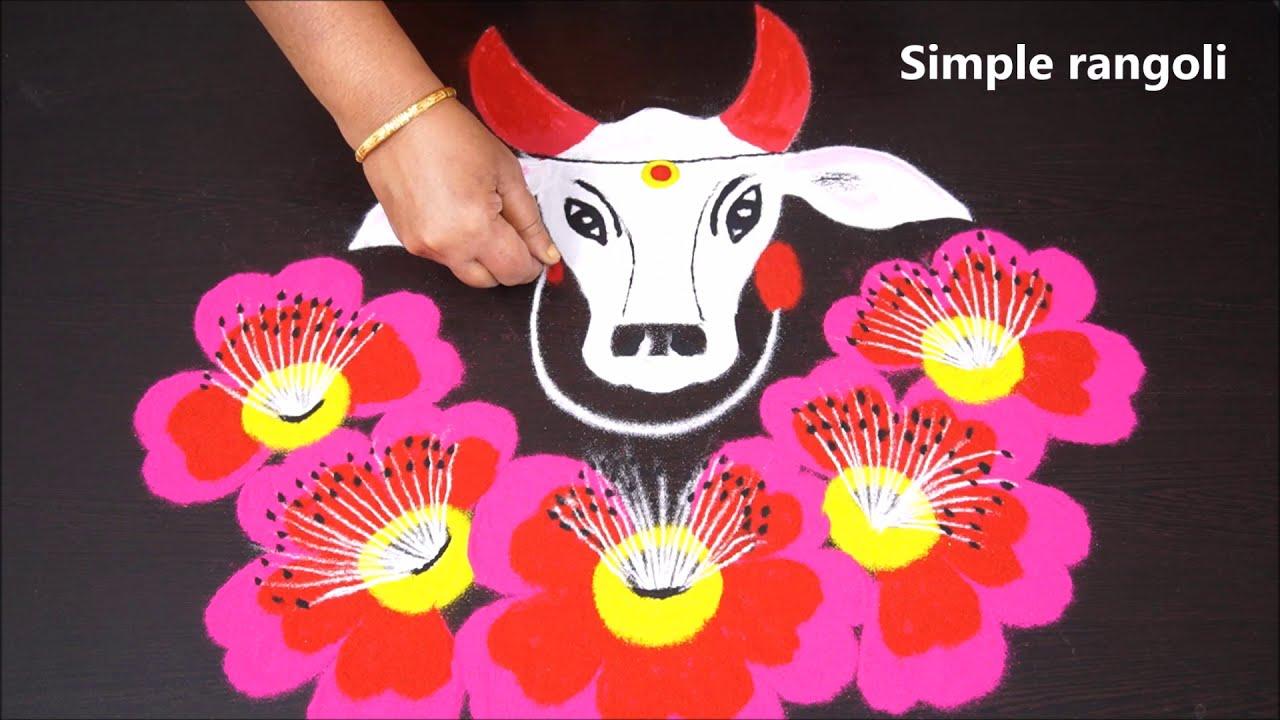simple rangoli design for maattu pongal