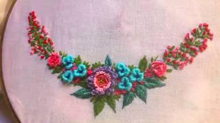 Hand Embroidery. Brazilian Embroidery Design#cast On Stitch,bullion Knot Stitch.
