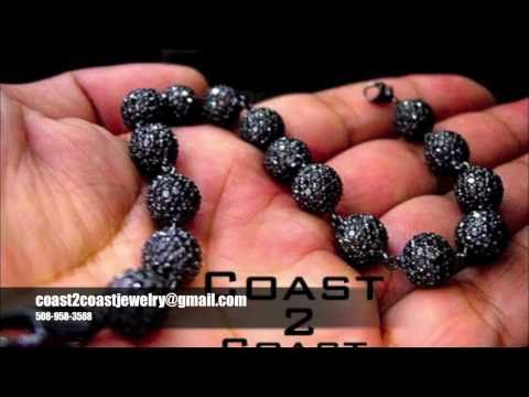 Black Diamond Bead Bracelet For Sale