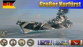 Немецкий линкор 10 уровня Großer Kurfürst раздаёт в рандоме 348 тыcяч единиц урона