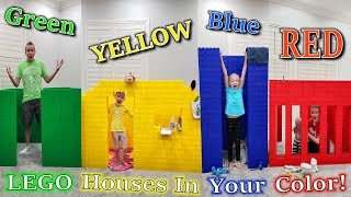 Last to Leave GIANT LEGO HOUSES in Our Color Wins!!