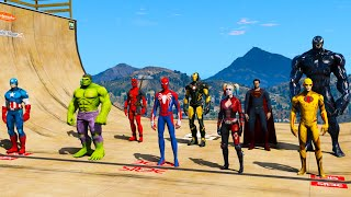Venom SpiderMan Hulk New Moto Сhallenge Superheroes GTAV !Человек-паук Веном и Халк новое испытание!
