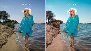 Apply Aqua Brown Color Scheme To Photos In Photoshop   Edit Summer Beach Photography W Free Preset