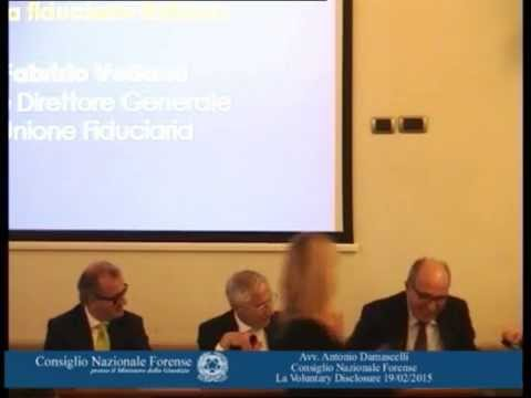 avv. Antonio Damascelli-consigliere CNF-  La Voluntary Disclosure 19/02/2015