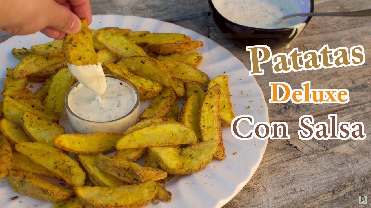 Las Mejores Patatas Deluxe Caseras con Salsa | Como hacer Patatas Gajo al Horno con Salsa Deluxe