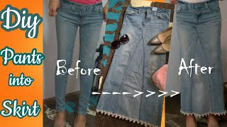 DIY How To Convert Your Jeans Into Long Skirt Part 1| Crochet Bottom Edges