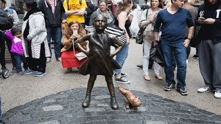 Fearless Girl Statue Paired With Urinating Pug Statue