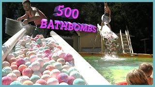 500 BATH BOMBS IN SWIMMING POOL‼️ | Sam & Nia