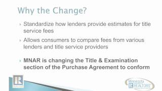 RESPA Changes, Title Service Fees and Minnesota Transactions